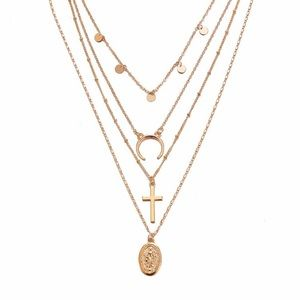 Jewelry - 4 for $25 sequin moon cross Virgin Mary necklace